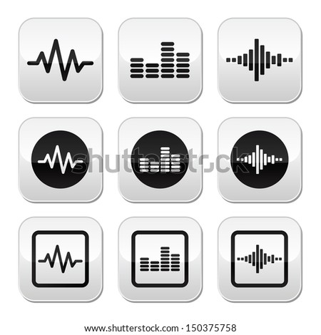 Soundwave music vector buttons set  - stock vector