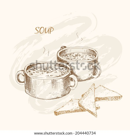 Soup and bread. Hand drawn graphic illustration - stock vector