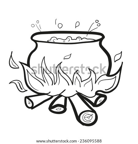 Soup in a tub. Cooking on a fire. A children's sketch
