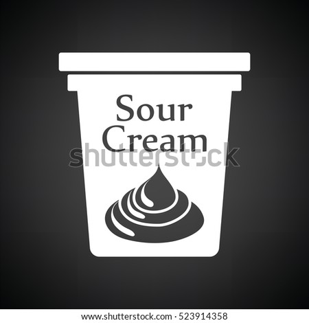 Sour cream icon. Black background with white. Vector illustration.