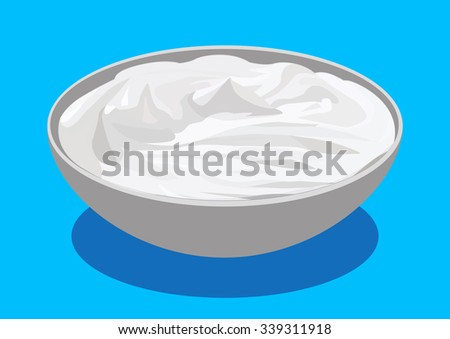 Sour cream, vector illustration, isolated on blue