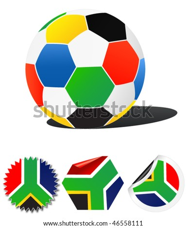 south africa - colorful stickers with ball - stock vector