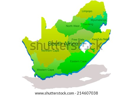 South Africa 3D map vector - stock vector