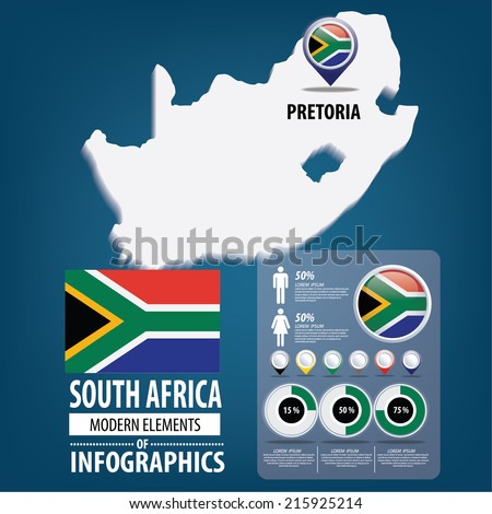 South Africa. flag. Asia. World Map. vector Illustration.