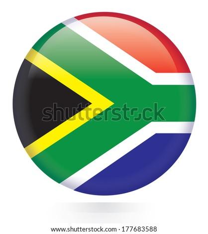 South Africa Flag Button  - stock vector