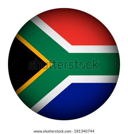 South Africa flag button on a white background. The colors of original. Vector illustration.