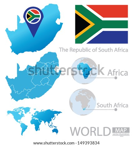 South Africa. flag. map. vector Illustration  - stock vector