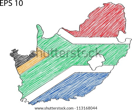 South Africa Flag Map Vector Sketch Up, EPS 10. - stock vector