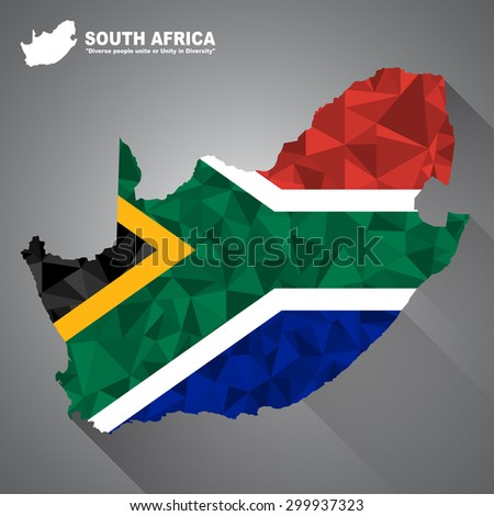 South Africa flag overlay on South Africa map with polygonal and long tail shadow style (EPS10 art vector)