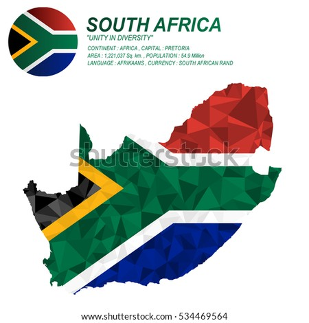 South Africa flag overlay on South Africa map with polygonal style.(EPS10 art vector)
