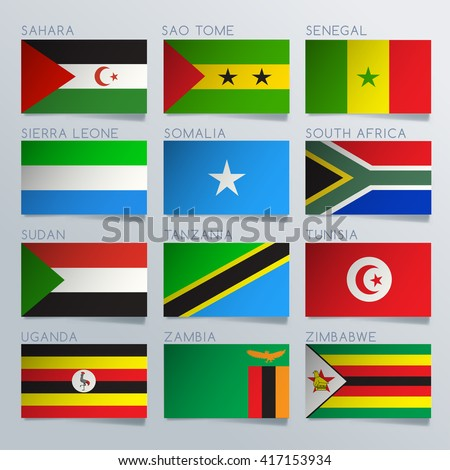 South Africa Flag Ribbon Set : Vector Illustration - stock vector