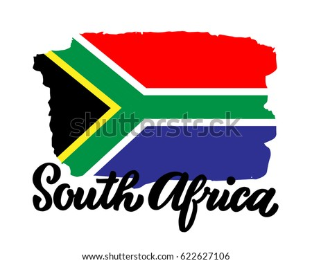 south africa flag display lettering sb8247 sparklebox south africa ink brush stock vector 622627106 381