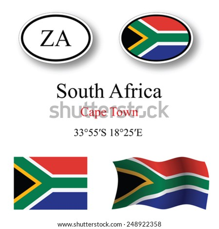south africa icons set against white background, abstract vector art illustration, image contains transparency - stock vector