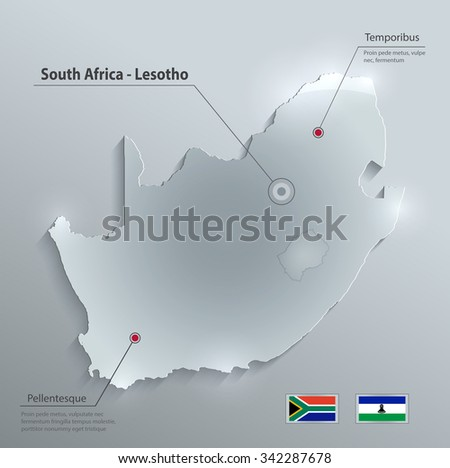 South Africa Lesotho map flag glass card paper 3D vector - stock vector