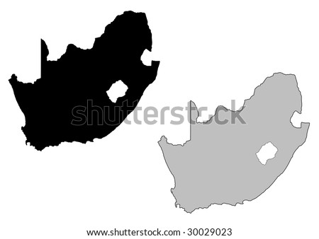 South Africa map. Black and white. Mercator projection. - stock vector