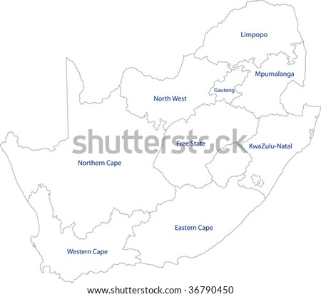 South Africa map designed in illustration with the provinces - stock vector