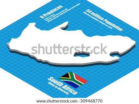 South Africa map vector three dimensional - stock vector