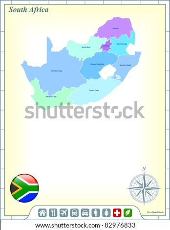 South Africa Map with Flag Buttons and Assistance & Activates Icons Original Illustration - stock vector