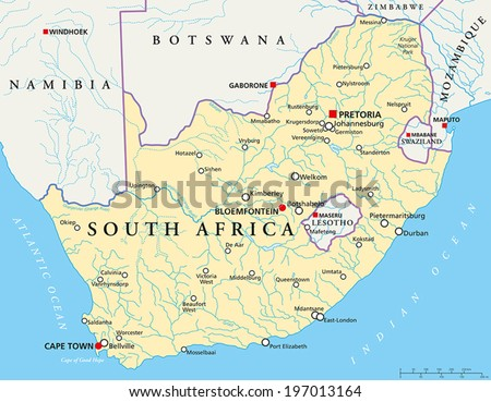 South Africa Political Map with the capitals Pretoria, Bloemfontein and Cape Town, with national borders, most important cities, rivers and lakes. Vector illustration with English labeling and scaling - stock vector