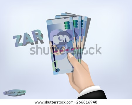 south africa rand money paper on hand,cash on hand - stock vector
