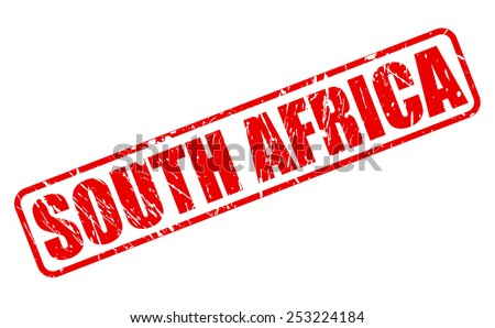 South africa red stamp text on white - stock vector