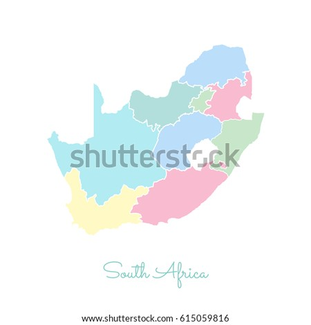 South Africa Region Map Colorful White Stock Vector - South africa regional map