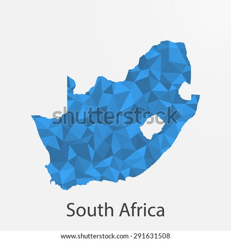 South Africa,Republic of South Africa flag map in geometric,mosaic polygonal style.Abstract tessellation,background. Vector illustration EPS10 - stock vector