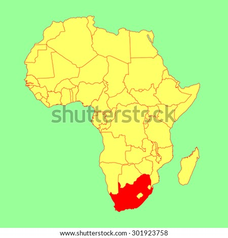 South Africa vector map isolated on Africa map. Editable vector map of Africa. - stock vector