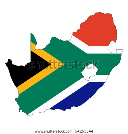 South Africa vector map with the flag inside. - stock vector