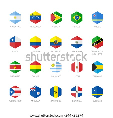 South America and Caribbean Flag Icons. Hexagon Flat Design. - stock vector