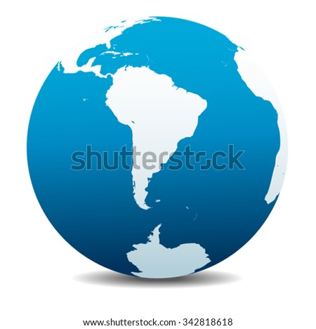 South America and South Pole Global World - stock vector
