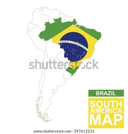 South america contoured map highlighted brazil stock vector south america contoured map with highlighted brazil brazil map and flag on south america map gumiabroncs Choice Image