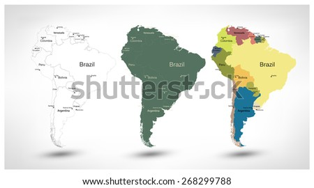 South America detailed continent blind map, silhouette map and political map. - stock vector