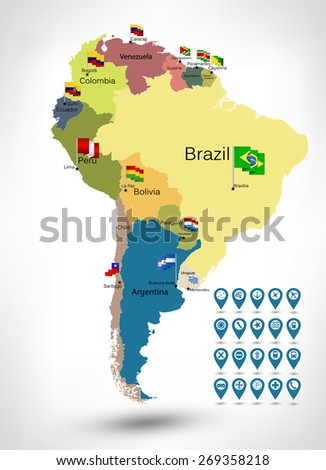 South America detailed continent political map with cartoon style flat flags and GPS icons. - stock vector
