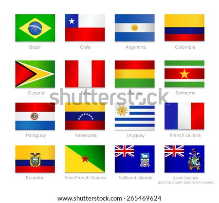 South America detailed flags set of all continent countries and overseas territories. Vector flags icon set. - stock vector