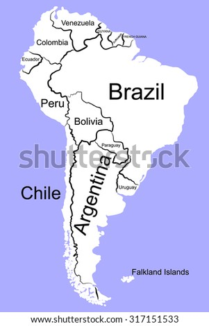 South america detailed map stock vector 317151533 shutterstock south america detailed map sciox Choice Image