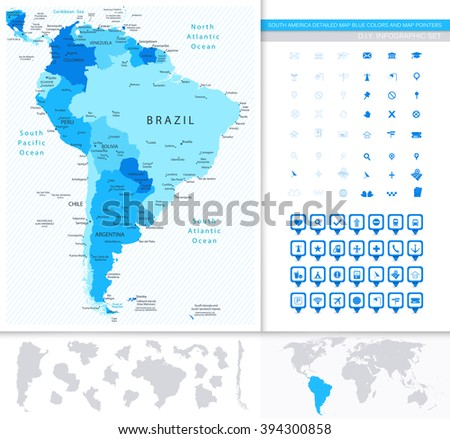 South America Detailed Map Blue Colors And Map Pointers Collection. All elements are separated in editable layers clearly labeled. - stock vector