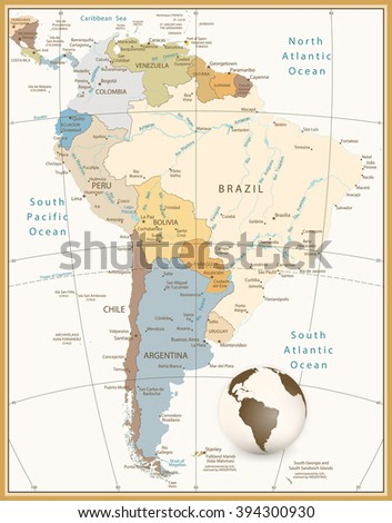 South America Detailed Map Retro Style.All elements are separated in editable layers clearly labeled. - stock vector