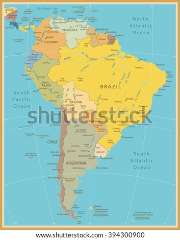 South America Detailed Map Vintage Color.All elements are separated in editable layers clearly labeled. - stock vector