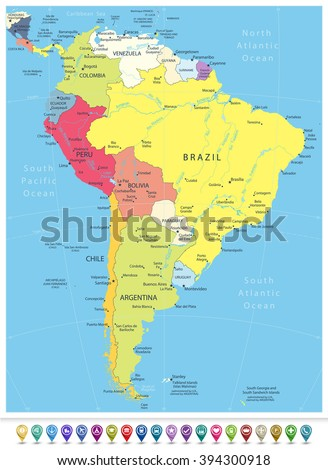South America Detailed Political Map with Navigation Icons.All elements are separated in editable layers clearly labeled. - stock vector