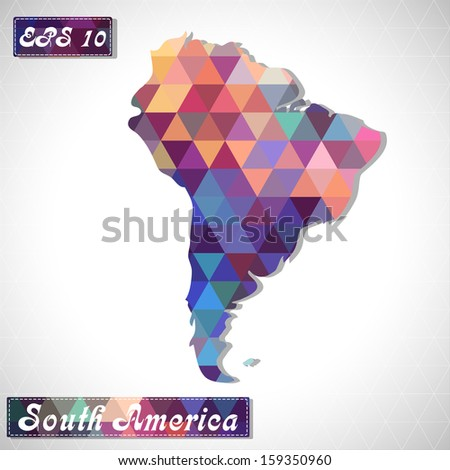 South America. EPS10 file version. This illustration contains transparency and is layered for easy manipulation and custom coloring. - stock vector