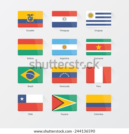 South America Flag Set. Flat design - stock vector