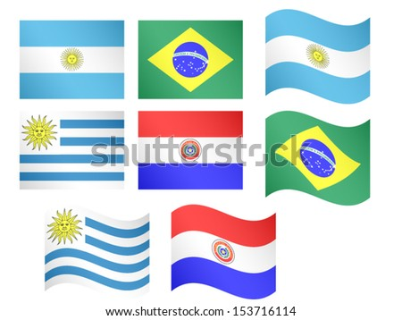 South America Flags Argentina Brazil Uruguay Paraguay with Coats of Arms EPS 10 - stock vector