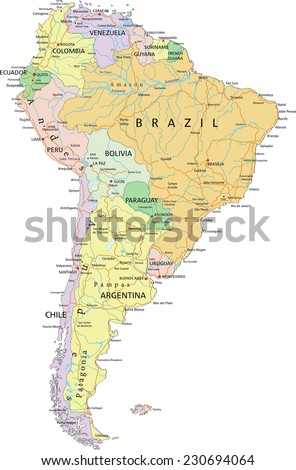 South America - Highly detailed editable political map with separated layers. - stock vector