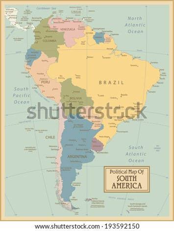 South America-highly detailed map.All elements are separated in editable layers clearly labeled. Vector  - stock vector
