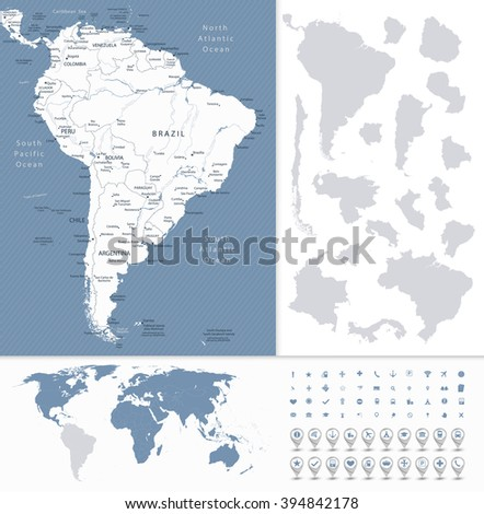 South America Highly Detailed Map and World Map Navigation Set. All elements are separated in editable layers clearly labeled. - stock vector