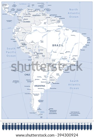 South America Highly Detailed Vector Map And Pointers.All elements are separated in editable layers clearly labeled. - stock vector