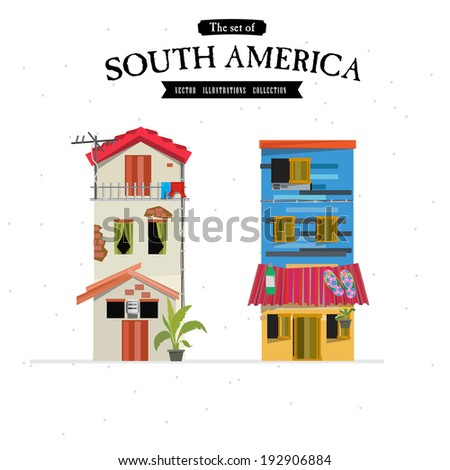 South America house style - vector illustration - stock vector