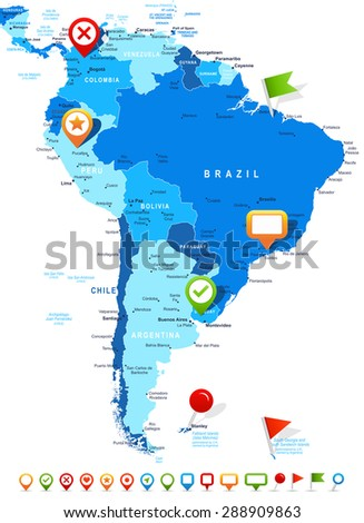 South America - map and navigation icons - illustration