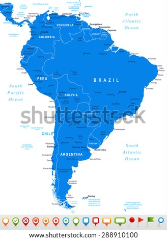 South America - map and navigation icons - illustration - stock vector